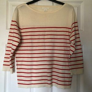 3/4 Sleeve Knit Top with Boat Neck